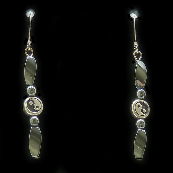 Silver Yin Yang Bead Magnetite Magnetic Earrings | Access Possibilities