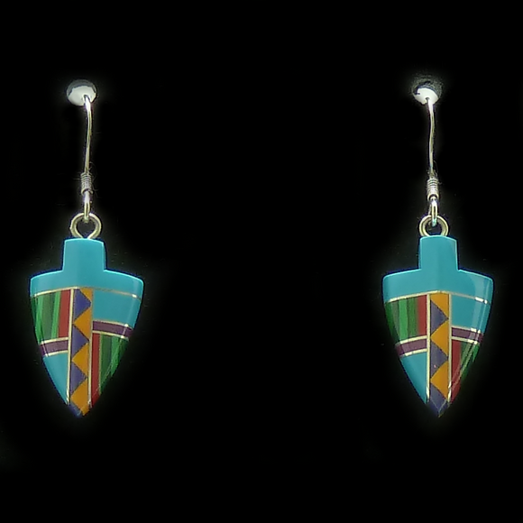 Small Arrowhead Turquoise Inlaid Pattern Earrings | Access Possibilities
