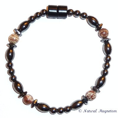 Snakeskin Jasper Hex And Rice Magnetite Magnetic Bracelet