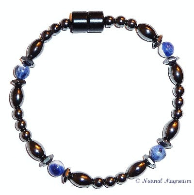 Sodalite Hex And Rice Magnetite Magnetic Bracelet