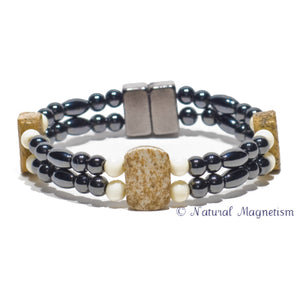 Picture Jasper And Bone Double Magnetite Magnetic Anklet