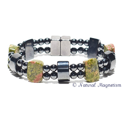 Unakite Double Magnetite Magnetic Anklet