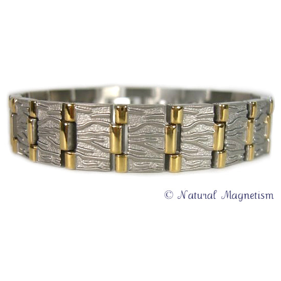 Wide Nugget Two-Tone Titanium Magnetic Bracelet