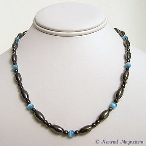 Teal Cat Eye And Rice Magnetite Magnetic Necklace