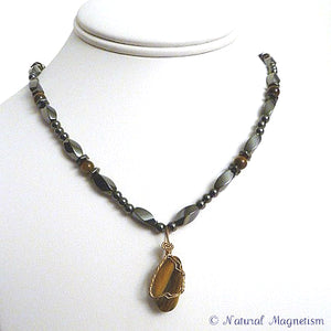 Tiger Eye Wire Wrap Magnetite Magnetic Necklace