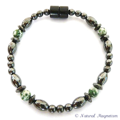 Tree Agate Hex And Rice Magnetite Magnetic Bracelet