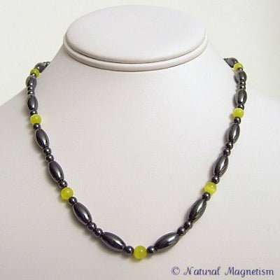 Yellow Cat Eye And Rice Magnetite Magnetic Necklace