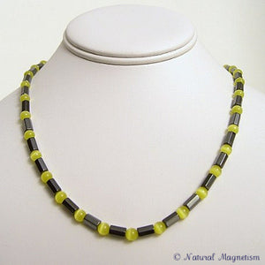 Yellow Cat Eye Faceted Magnetite Magnetic Necklace
