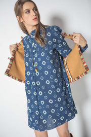 Mini Laura Cornflower Block Print Dress