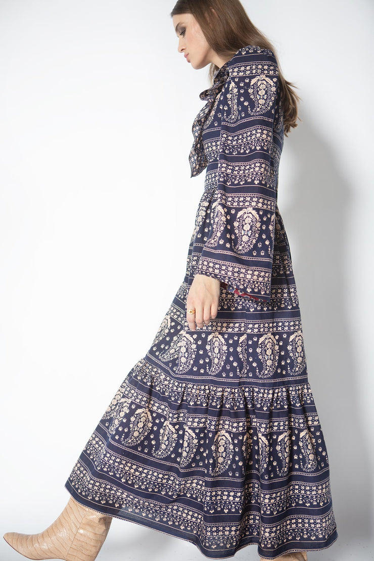 Daphne Navy Paisley Print Dress