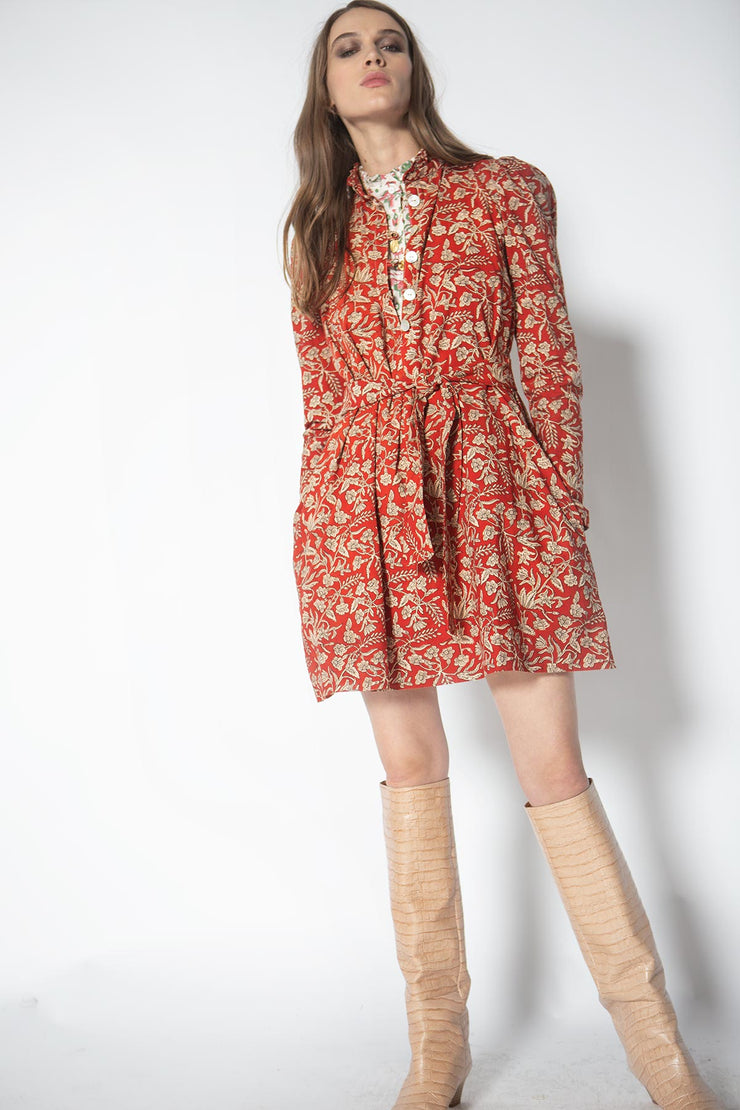 Mini Laura Red Currant Block Print Dress