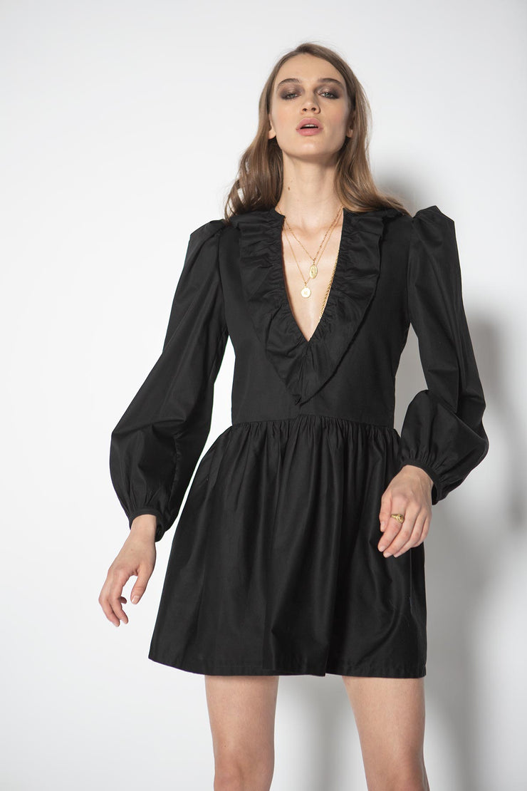 Stefanie Black Ruffle Dress