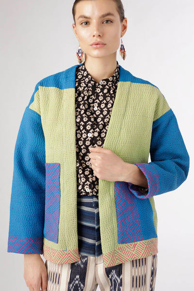 One Of A Kind Cerulean Kantha Jacket - Small