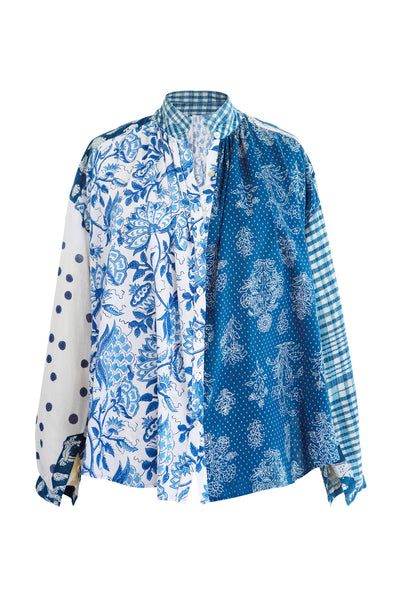 Kiki Blue Patchwork Shirt