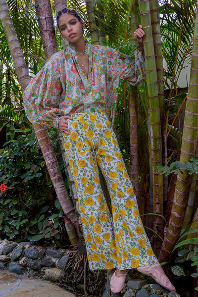 Charlie Yellow Rose Print Trouser