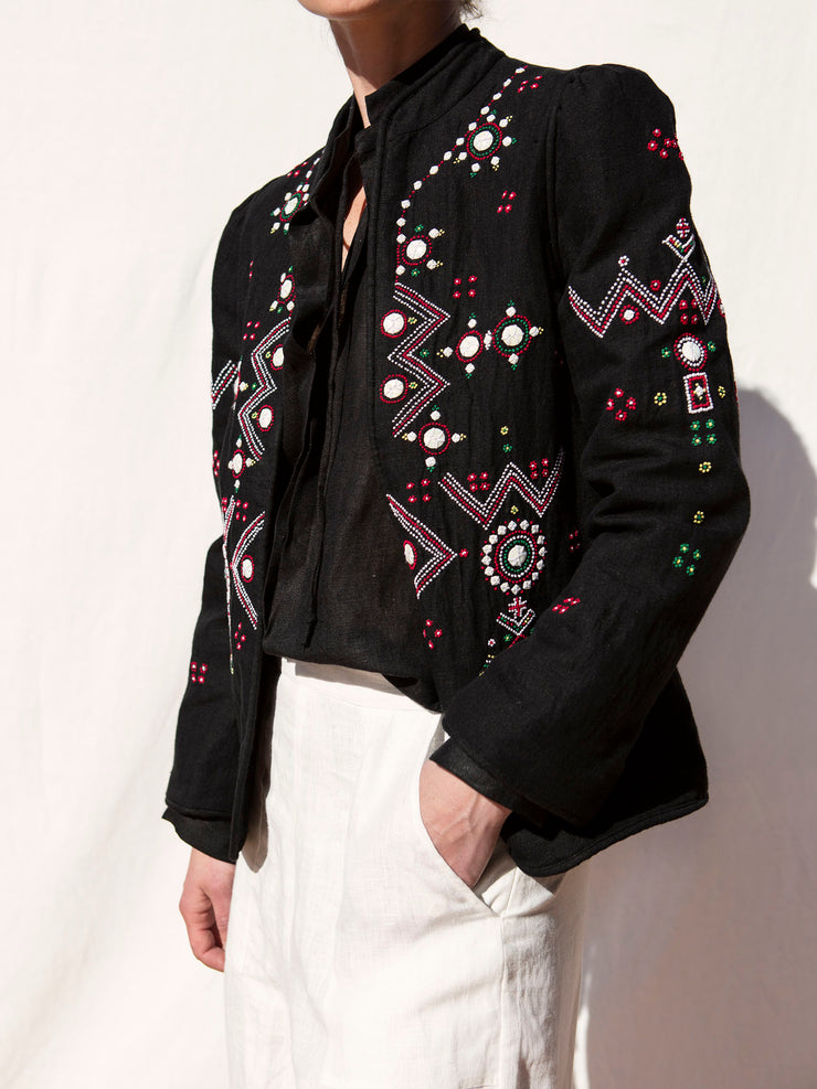 Anja Black Jacket Folk Embroidery