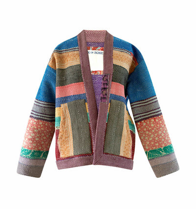 One Of Scout Stripe Kantha Kimono Jacket - Small
