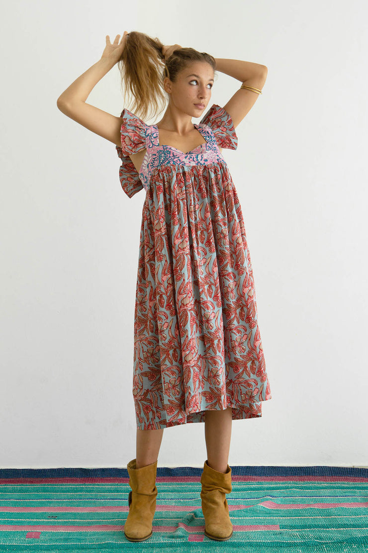 Emmaline Patchwork Block Print Ruffle Dress