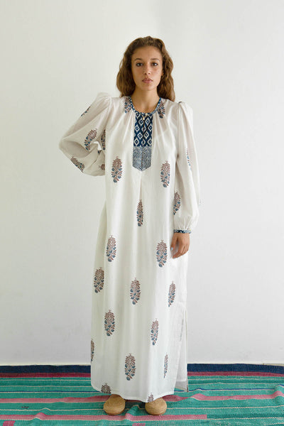Virginie Violet Print Caftan Dress