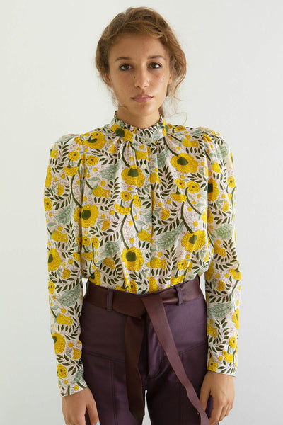 Annabel Sunflower Block Print Blouse