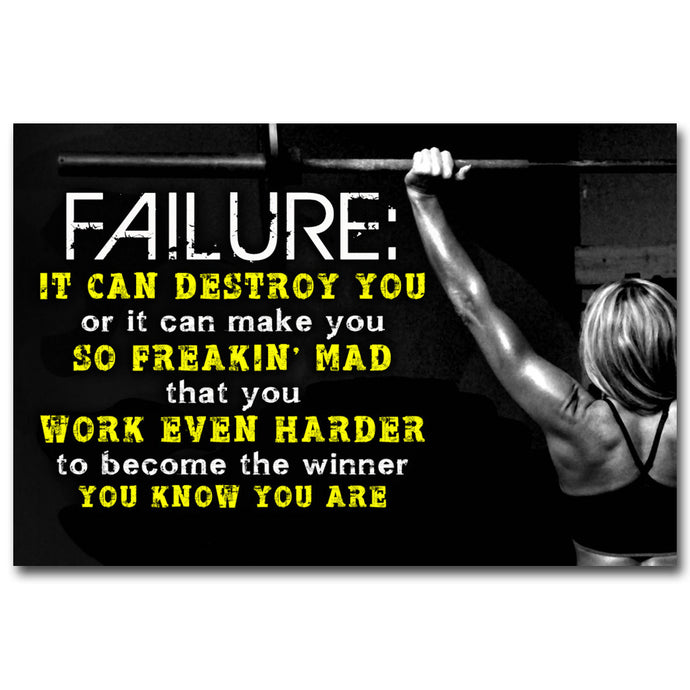 Motivational Quotes Art Silk Poster Fitness Wall Art