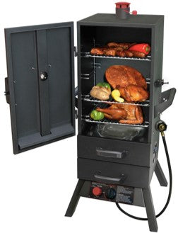 "Smoky Mountain  34"" Vertical Gas Smoker  w/ Two Heat Saving Drawers    L3495GLA - PATIO AND FIREPLACE CONCEPTS"