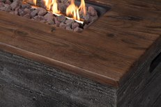 Faux Concrete Fire Table 48' With Faux Wood Table Top                    B50488 - PATIO AND FIREPLACE CONCEPTS