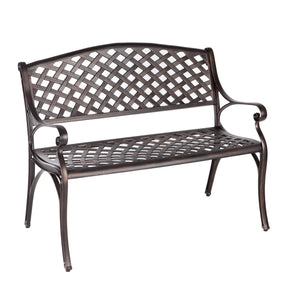 ANTIQUE BRONZE CAST ALUMINUM PATIO BENCH     F61491 - PATIO AND FIREPLACE CONCEPTS