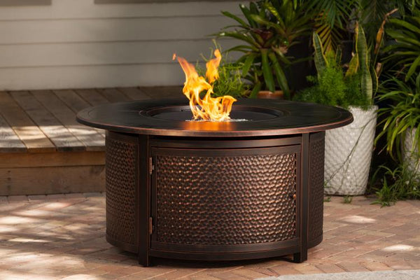 Leeward Hammered Aluminum LPG Fire Pit          F62353 - PATIO AND FIREPLACE CONCEPTS