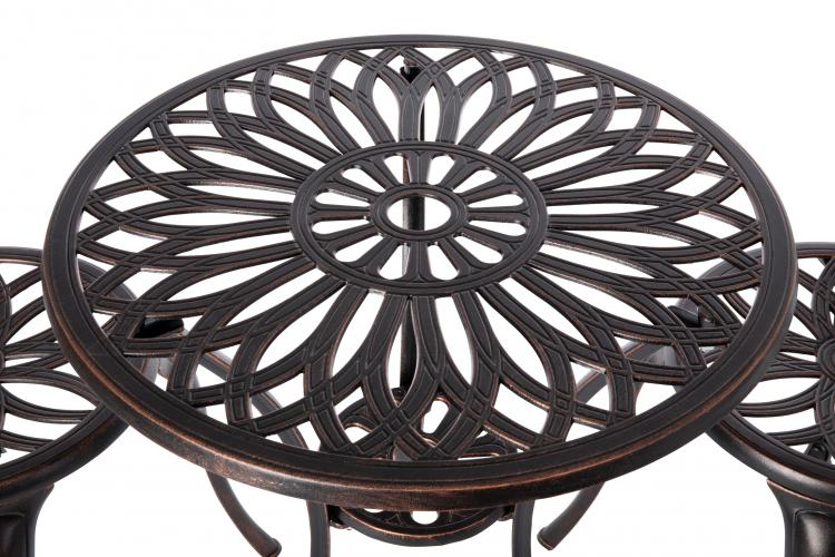 Theon Antique Bronze 3pc Bistro Set                      F62696 - PATIO AND FIREPLACE CONCEPTS