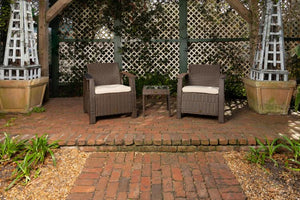 Bondi Conversation Set in Mocha Wicker                                                  F62963 - PATIO AND FIREPLACE CONCEPTS