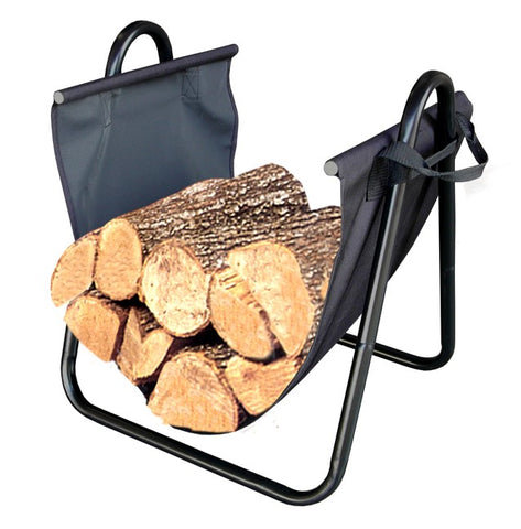 Firewood Log Holder with Canvas Carrier  L82431 - PATIO AND FIREPLACE CONCEPTS