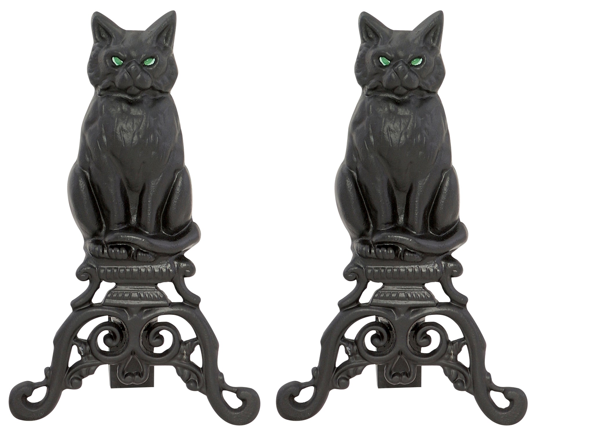 BLACK CAST IRON CAT ANDIRONS                              A-1251 - PATIO AND FIREPLACE CONCEPTS