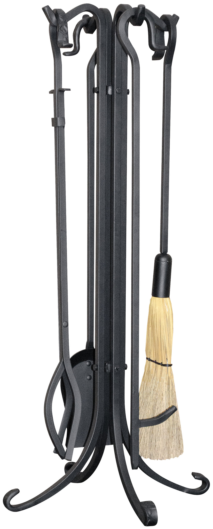 5 PIECE BLACK HEAVY WEIGHT FIRESET WITH CROOK HANDLES F-1021 - PATIO AND FIREPLACE CONCEPTS