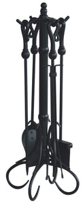 5 PC BLACK FIRESET WITH HEAVY CROOK HANDLES F-1056 - PATIO AND FIREPLACE CONCEPTS