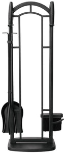 5 PC BLACK WROUGHT IRON FIRESET WITH CYLINDER HANDLES F-1119 - PATIO AND FIREPLACE CONCEPTS