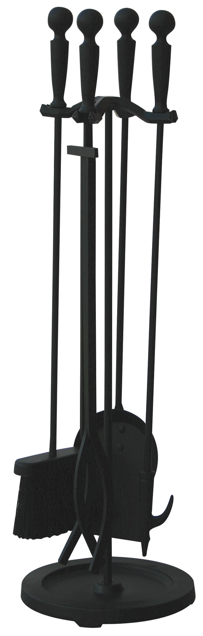 5 PC BRUSHED BLACK FINISH FIRESET WITH DOUBLE RODS  F-1583B - PATIO AND FIREPLACE CONCEPTS