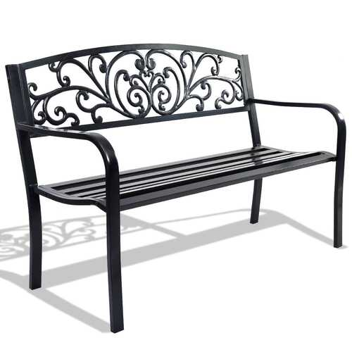 "50"" Patio Park Garden Steel Frame Bench - PATIO AND FIREPLACE CONCEPTS"