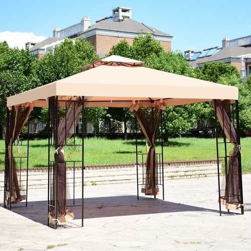 10 x 10 ft 2 Tier Vented Metal Gazebo Canopy with Mosquito Netting - PATIO AND FIREPLACE CONCEPTS