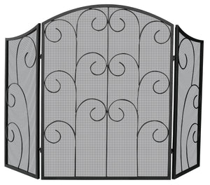 3 PANEL BLACK WROUGHT IRON SCREEN WITH DECORATIVE SCROLL       S-1015 - PATIO AND FIREPLACE CONCEPTS