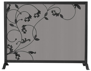 SINGLE PANEL FIREPLACE SCREEN WITH FLOWING LEAF DESIGN   S-1043 - PATIO AND FIREPLACE CONCEPTS
