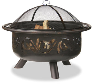 36 IN WIDE OIL RUBBED BRONZE FIREBOWL WITH SWIRLS                               WAD900SP - PATIO AND FIREPLACE CONCEPTS