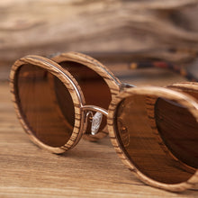 Load image into Gallery viewer, BOBO BIRD Natural Wooden Metal Round Frame Sunglasses Men's and Women's Outdoor Sports Travel Summer Beach Sunglasses