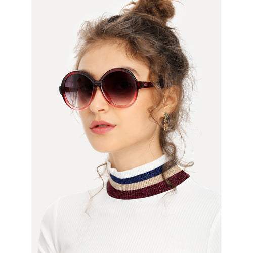 Two Tone Frame Round Burgundy Lens Sunglasses
