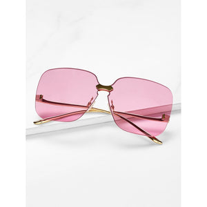 Metal Temple Rimless Sunglasses