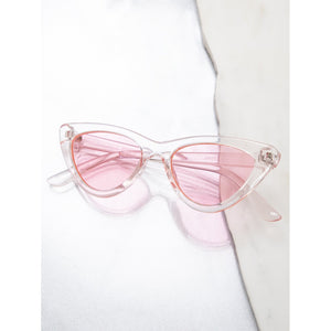Colored Clear Cat Eye Pink Sunglasses for Outdoor Activities