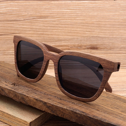 BOBO BIRD Top Brand Design New Men Sunglasses Wood Black Walnut Wood Oversized Wooden Sunglasses Sun glasses With Wood Box 2017