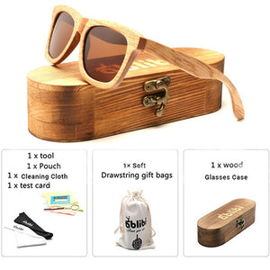 Original Handmade Men Natural Wood Sunglasses 100% Polarized Shades in Case