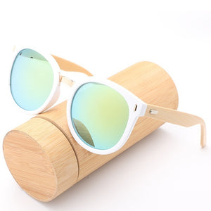 New Brand Women Wooden Sunglasses Classic Luxury Mirrored Glasses with UV400 Protection