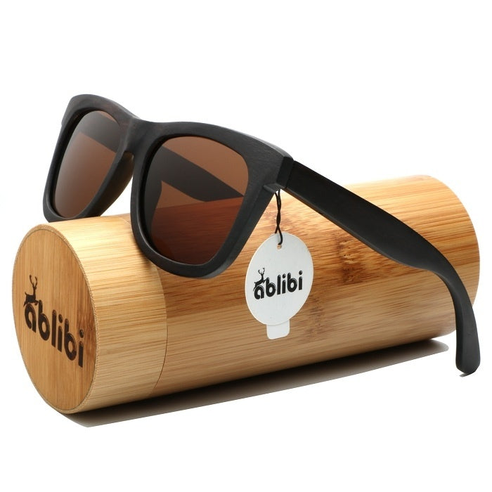 <100% Handmade>Ebony Wood Sunglasses Outdoor Polarized Protection in Bamboo Tube Case